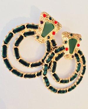Asos Boucle d'oreille incrustée de pierres doré-vert forêt