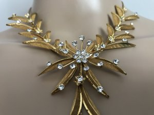 Wunderschöne Halskette zum Schnäppchen Preis *** Statement Kette Statementkette Collier Abendschmuck Hochzeit Cocktail Schmuck gold goldfarben Cocktail Ball Hochzeit
