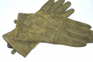 H&M Leather Gloves olive green suede