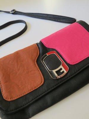 Wunderschöne Handtasche aus Leder pink schwarz Clutch