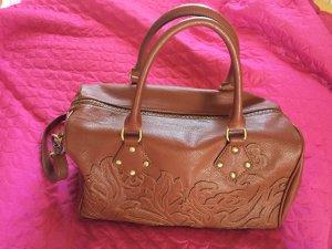Handbag cognac-coloured synthetic material