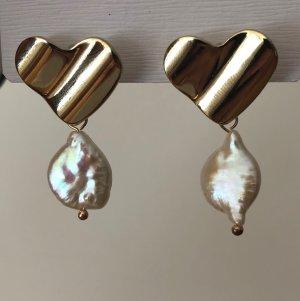 Wunderschöne Herzohrringe mit Perle gold weiß für Hochzeit Brautschmuck