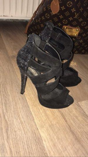 Wunderschöne High Heels schwarz Glitzer Absatz