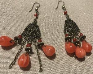 Wunderschöne Hippie Vintage Ohrringe Bohemian Ohrhänger mit marmorierten orangenen Steinen orange lachs hellrot Ethno Look Indian Style Elfen Schmuck Indianer Ohrschmuck