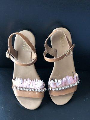 Wunderschöne italienische Mädchen / Damen  Leder  Sandalen mit  Glitzer u rosa Federn Gr. 36 super erhalten
