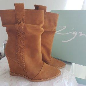 Wunderschöne KEILSTIEFEL DIRNDL Stiefel Camel Leder Boots Wiese WIESN MUST HAVE!
