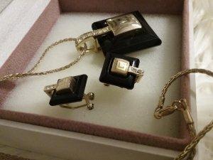 Wunderschöne  Kette mit Ohrringe  in Gold und Schwarz