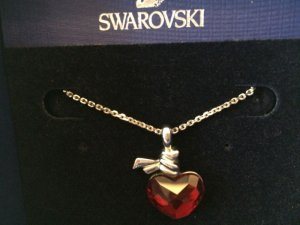 Swarovski Collar color plata-rojo metal