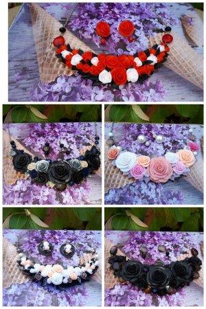 Wunderschöne Ketten aus Fimo mit passenden Ohrringen