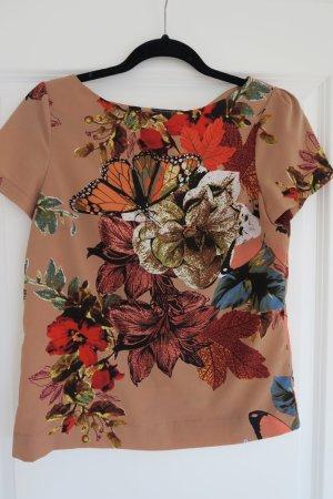 Wunderschöne Kurzarmbluse in caramel mit Blumen u. Schmetterlingen