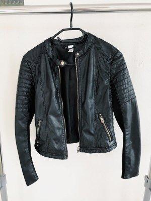 H&M Veste en cuir synthétique noir-argenté faux cuir