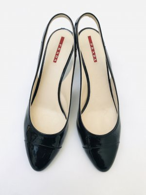 Wunderschöne Lackpumps / Riemchensandaletten von Prada, Gr. 39 1/2, schwarz, super Zustand, Gummisohle, Lackleder