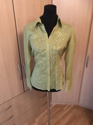 wunderschöne langärmlige H&M Bluse mit Pailletten Gr. 40 in grün