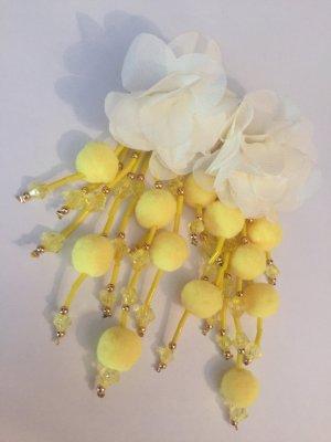 Wunderschöne Lange Vintage Statement Ohrringe Boho Blüten Sommer Gelb Highlight!! Neu