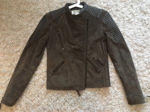 Mango Leather Jacket dark brown