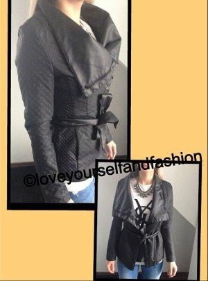wunderschöne lederjacke stepp jacke cardigan mantel schwarz kunstleder gr. 34 36