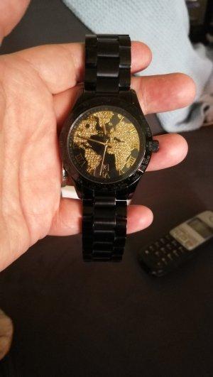 Wunderschöne Michael Kors Uhr, Weltuhr in schwarz/gold