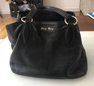 Wunderschöne Miu Miu Handtasche schwarz Gold Leder