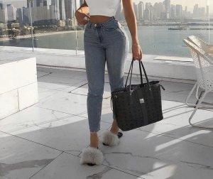 High Waist Trousers slate-gray