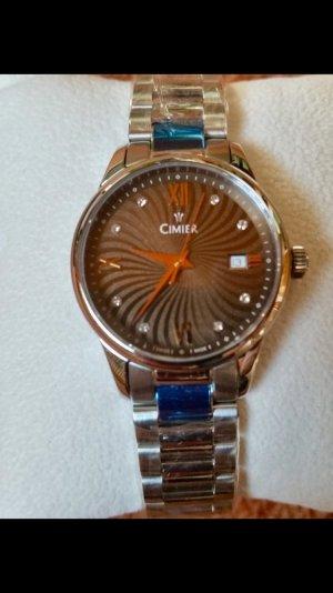 Montre avec bracelet métallique brun noir-argenté bronze