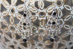 Wunderschöne Ohrringe in silber/schwarz