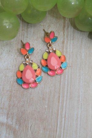 wunderschöne Ohrringe * tolle Sommerfarben * Kristalle * nie getragen *