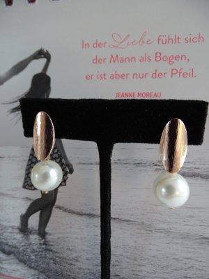 Orecchino di perle bianco-albicocca