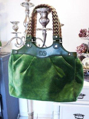 Wunderschöne ORIGINAL ESCADA SPORT Tasche Handtasche groß grün lindgrün Umhängetasche Shopper Wildleder Echtleder Ledertasche Wildledertasche geflochtene Henkel