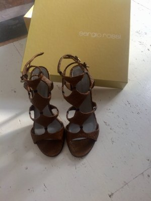 Sergio Rossi Roman Sandals bronze-colored-black brown leather