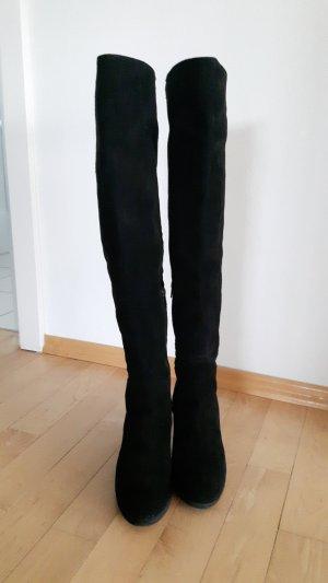 Kniehoge laarzen zwart-beige Suede