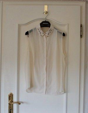 Zara Blouse sans manche blanc cassé-crème