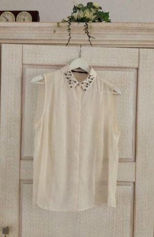 Zara Blusa senza maniche bianco sporco-crema