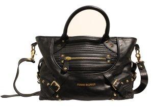 wunderschöne Pierre Balmain Handtasche, schwarz/gold,  Leder