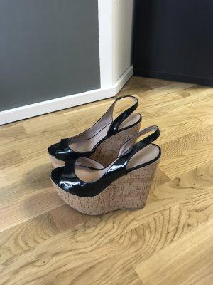 Platform Sandals black leather