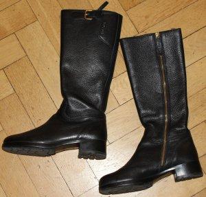 wunderschöne Prada Stiefel schwarz Gr 39 38,5 tolles robustes Leder schmale Wade