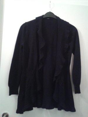 wunderschöne romantische Strickjacke Mantel Strickmantel Cardigan Wolle mit Volant Rüschen - Gr. L (40 / 42)