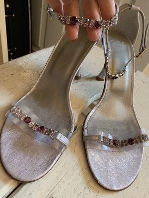 Sandales à lanière argenté-magenta