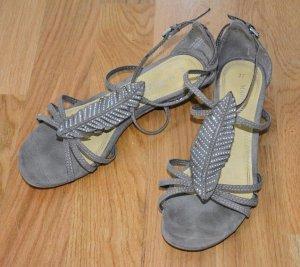 wunderschöne Sandalen mit Feder und Strass Größe 37