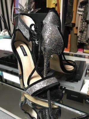 Sandals black-silver-colored