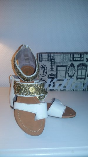 Killah High-Heeled Toe-Post Sandals white-gold-colored leather
