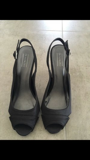 di Marzio High-Heeled Toe-Post Sandals dark blue