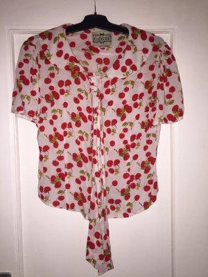 Blusa con lazo blanco-rojo rayón