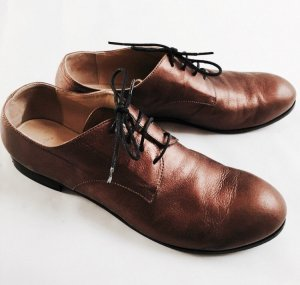 Lace Shoes bronze-colored leather