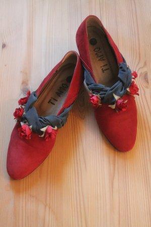 wunderschöne Schuhe * Blumen * Blüten * Leder * tolle Details * einmal getragen *