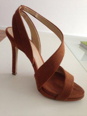 Zara High-Heeled Sandals cognac-coloured