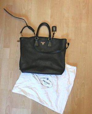 Wunderschöne, schwarze Prada Vitello Daino nero Shopper-Tasche aus genarbten Leder