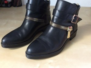 Zara Zipper Booties black-gold-colored