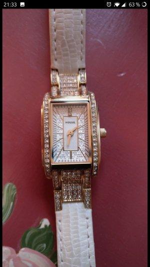 Wunderschöne sehr elegante Damen-Uhr von Fossil, Leder, weiß, NEU