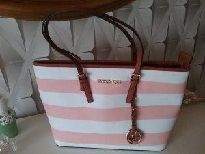 Wunderschöne Shopper-Tasche in  weiß und rosa gestreift aus Lederimitat...wie NEU!!!!