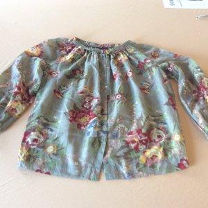 Blusa de seda caqui-verde grisáceo tejido mezclado